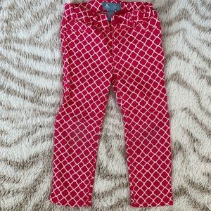 Girls Gap pink white damask jeans 4